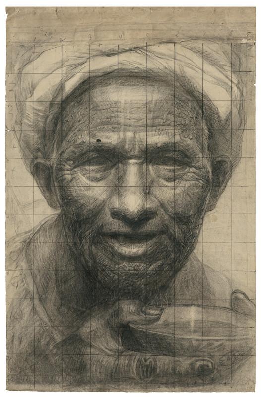 24 父亲手稿 素描 68.5x43.5cm 1979年-正在发生 罗中立手稿展 开幕图片