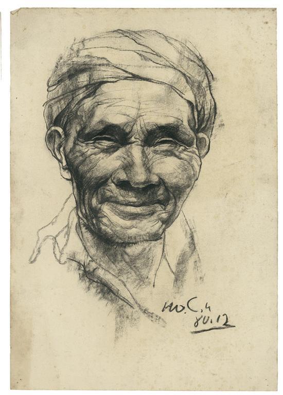 7 父亲手稿 素描 39x27.5cm 1980年12月-正在发生 罗中立手稿展 开幕图片