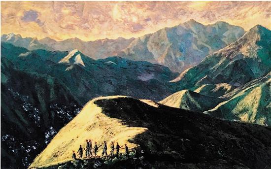 金漆画西湖风景图折屏